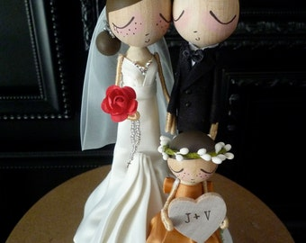 Family Wedding Cake Topper with Custom Wedding Dress and One child- Custom Keepsake by MilkTea