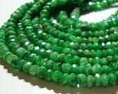 "Tsavorite Garnet Rondelle Gemstone Beads, Emerald Green, Kelly Green, May birthstone, 4-4.5mm, 8"" Strand,  28% sale"