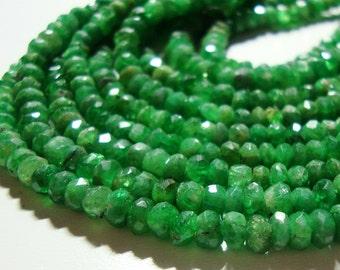 "Tsavorite Garnet Rondelle Gemstone Beads, Emerald Green, Kelly Green, May birthstone, 4-4.5mm, 16"" Strand,  30% sale, Wholesale"