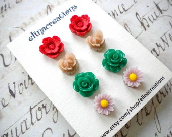 Flower Earrings Gift Set Resin Earrings Flower Post Earrings Cabochon Studs Earrings Stud Flower Earrings Gift Set For Girls Flower Jewelry