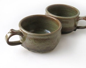 Pair of Speckled Brown Soup Mugs