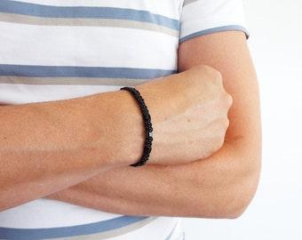Leather cuff bracelet black bead bracelet macrame braided bracelet for men women made to order