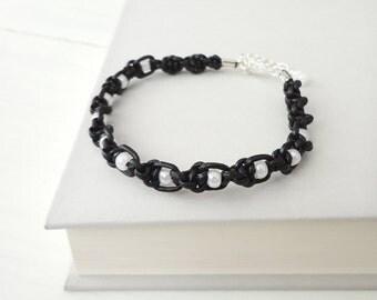Twisted macrame bracelet knotted black leather white glass minimalist elegant men women