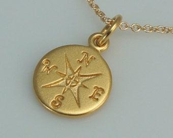 Gold Compass Necklace,Matte Gold, Graduation Gift
