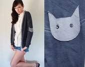 Cat sweater -  slouchy oversized dark grey cardigan, nerdy boyfriend fit  with elbow patches - small