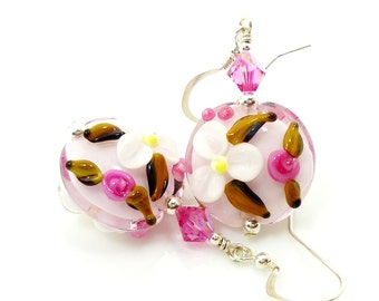Pink Floral Earrings, Lampwork Earrings, Glass Earrings, Pink Flower Earrings, Lampwork Earrings, Glass Bead Earrings, Beadwork Earrings