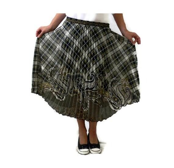 vintage plaid pleated midi skirt plaid and paisley elastic