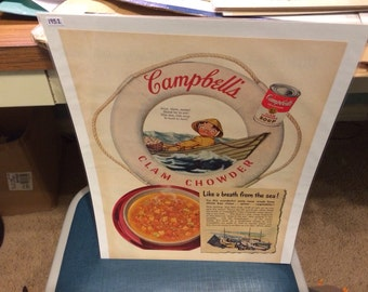 1952 Campbell's Soup ad Clam Chowder ocean