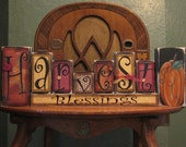Harvest Blessing Blocks Fall and Thanksgiving Decor Sign