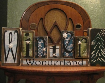 Winter Wonderland Christmas and Winter Sign Word Blocks