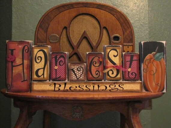 Fall Sign, Thanksgiving Decor Harvest Blessing Blocks Fall and ...