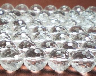 13mm Rock Quartz Beads Crystal Quartz Beads Disco Ball Faceted Quartz 5 pcs.