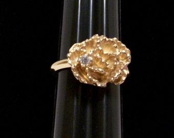 Avon Jewelry, Ring, Avon Ring, Rose And Rhinestone Ring