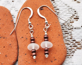 Genuine Sea Glass White Earrings Sterling Silver with Wooden Beads 2890C