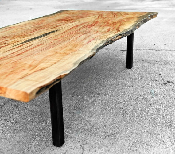 Coffee Table Live Edge Flame Box Elder - The Garcia Collection - Maple Hardwood - Natural Coloring - Handmade - Custom Furniture