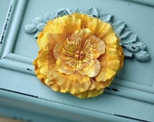 """2 TWO packs (4 pieces) Prima 527204 """"Frillies Yellow Sheer  Fabric Flowers with stamens on center"""