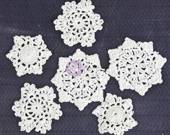 "NEW: Prima Fabric Embellishments - 6 pcs White Crochet Doily ""Round"" Snowflakes."