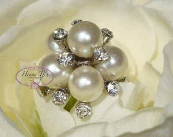 5 pcs - 25mm Crystal Rhinestone Pearl Buttons with Shank on the back - Flower Center / wedding / hair / dress / garment accessories