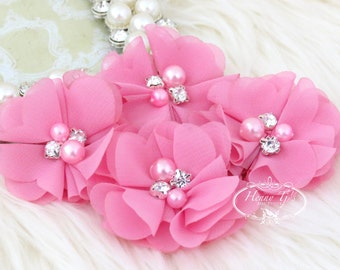 NEW: 4 pcs Aubrey STRAWBERRY PINK - Soft Chiffon with pearls and rhinestones Mesh Layered Small Fabric Flowers, Hair accessories