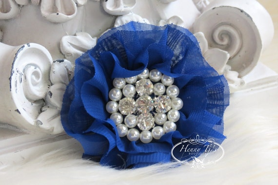 New: Reilly Collection, 2 pcs Cobalt / ROYAL BLUE Soft Chiffon Ruffled Rhinestones Pearls Fabric Flowers - Layered Bouquet fabric flowers