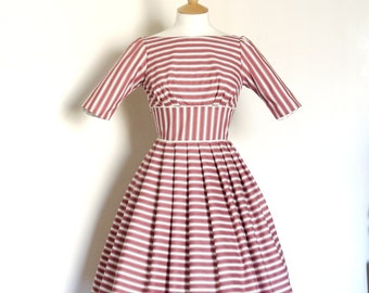 Rust and Cream Striped Audrey Prom Dress - Made by Dig For Victory