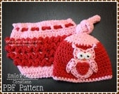 Top Knot Hat and Ruffle Diaper Cover Crochet Pattern SET - OWL - 133, 709
