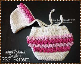 Ruffled Bonnet Hat and Diaper Cover Patterns, LILY - pdf 221, 709