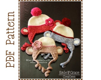 Crochet Sock Monkey Hat Pattern, Classic Ear Flap, MIKEY and MOLLY Sock MONKEY - pdf 127
