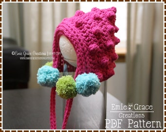 Bonnet Crochet Pattern, 8 Sizes from Newborn to Adult, BETSY BOBBLE BONNET - pdf 230