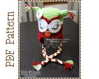 Owl Hat Crochet Pattern, 8 Sizes from Newborn to Adult, CHRISTMAS WHAT - A - Hoot Owl - pdf 107