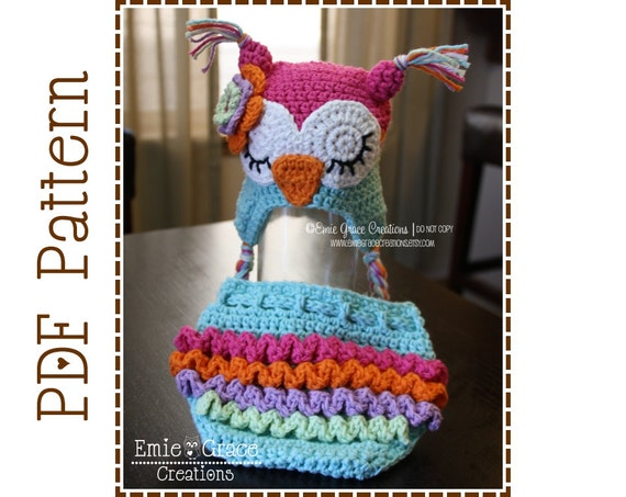 Owl Hat and Ruffle Diaper Cover Crochet Pattern SET WHO