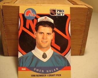 Owen Nolan Card, Vintage Hockey, Sports Card, Hockey Card, Quebec Nordiques, Pro Set Hockey,Rookie card, Hockey, Rookie Card, Owen Nolan