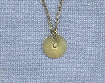 Antique Bronze Initial C Necklace