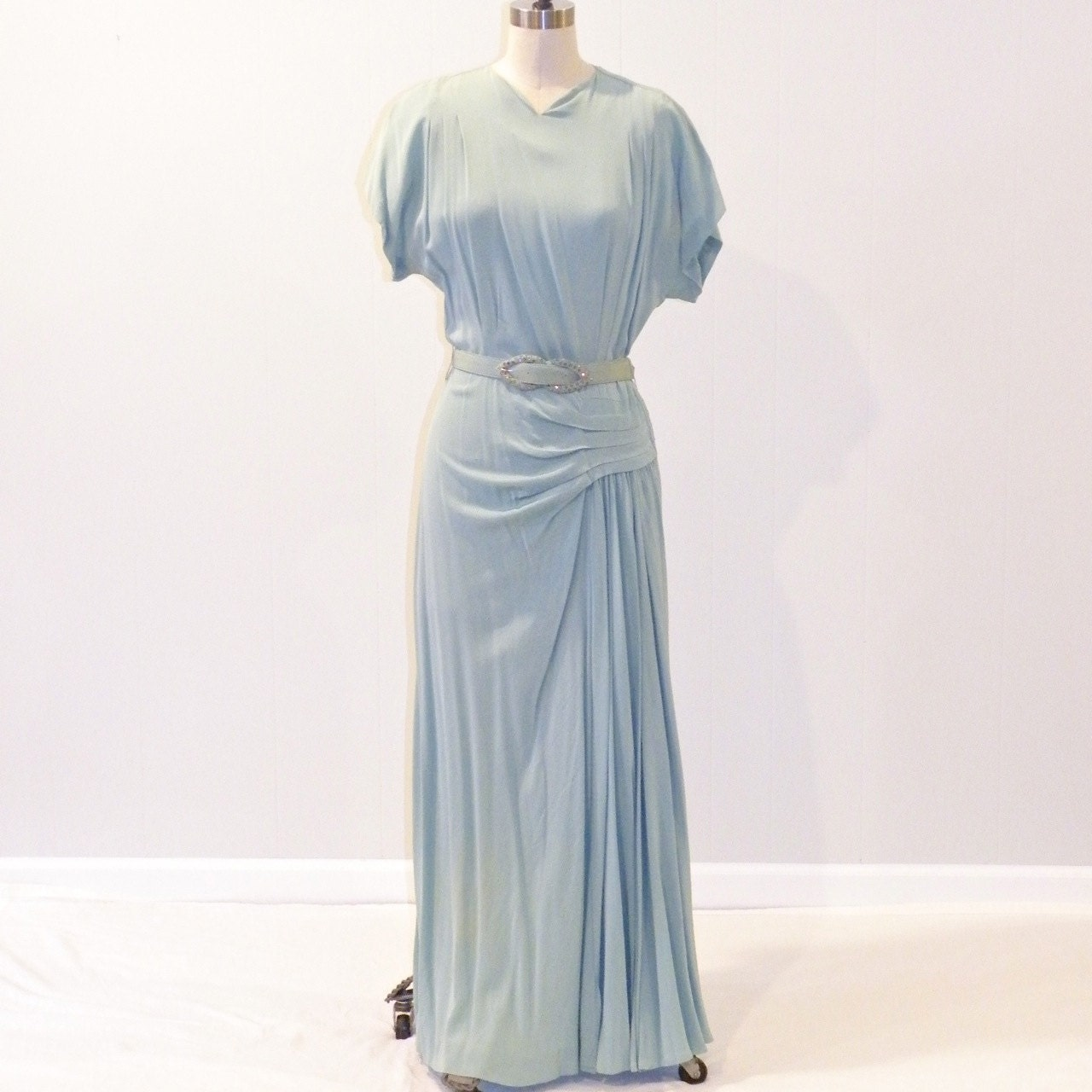 Glamour Gowns Tagged Size S The Deco Haus: HOLD For Marianne 1940s Dress 40s Seafoam Green Rayon Crepe