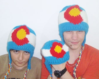 Colorado Flag Hats, Winter Hats, hand knit womens mens kids family matching hats, winter gift