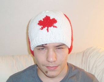 Canadian Beanie Beret - Canadian Hat - Knit Canadian maple leaf hat - Hand knit beanie hat for Men - Canadian Gifts