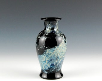 Black and Silver Vase, Hand Blown Glass