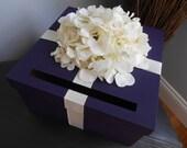 Custom Wedding Card Box Dark Purple with Ivory Hydrangeas Wedding Reception Card Box Money Holder Plum Purple Wedding Gift Card Box