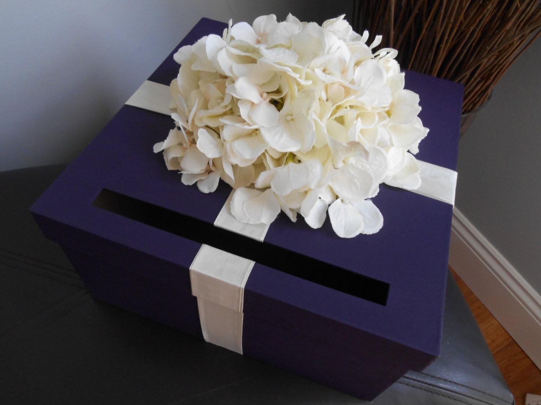 Card Gift Box Wedding: Custom Wedding Card Box Dark Purple With Ivory Hydrangeas