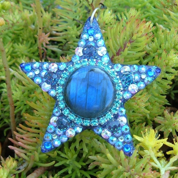 "Aurora Alight, 2 3/4"" shining star, aurora borealis, labradorite cabochon, magical, powerful, fairy, glittery star"