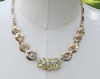 Vintage Canary Yellow Rhinestone Necklace Sara Coventry Gold tone Fashion Jewelry