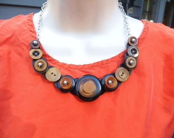 SALE, Brown and black combo button necklace