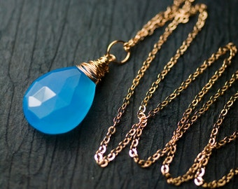 """Azure Blue Chalcedony Rose Goldfilled Pendant Necklace by Mossandmist - """"Wild Blue"""""""