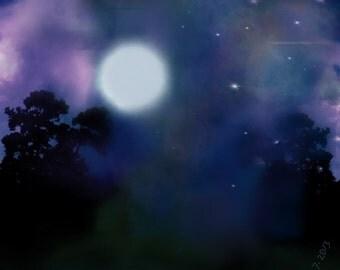digital download of abstract art  - full moon night artwork - digital nighttime print - modern artwork night sky