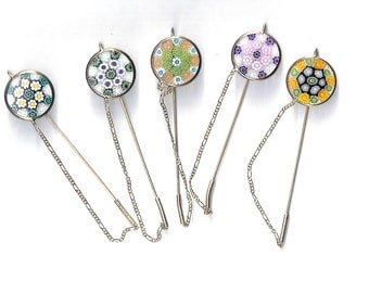 5 Vintage Italian Gold/Silver Murano Hairpins,Stickpins,Old New Stock