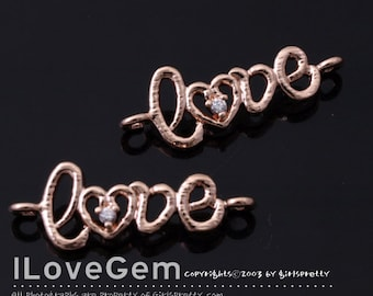 NP-1488 Rose Gold plated, Love, Pendant, 2pcs