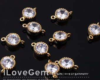 SALE/ 20pcs / NP-1173-06 Gold plated, 6mm Cubic, Wedding jewelry, connectors