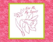 KISS ME --- Hand Embroidery E-Pattern Printable Instant Download Pdf DIY Free Shipping Pink Green White Bee Flower Daffodil Jonquil Insect