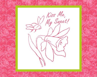 KISS ME, My Sweet -- Hand Embroidery E-Pattern Printable Instant Download Pdf DIY Free Shipping Pink Green White Bee Flower Daffodil Jonquil