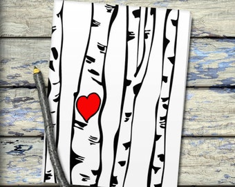 Printable birch trees and heart valentine custom card rustic romantic digital personalized valentine DIY Inscribe your initials in the heart